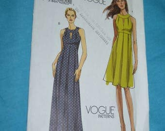 Vogue 8574 Misses Dress Sewing Pattern - UNCUT - Size 6 8 10 12 - Slightly flared, mid-knee or floor-length dress has close fitting