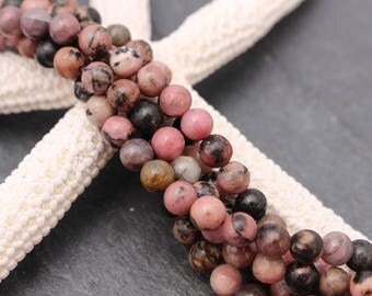 6mm Rhodonite Beads, Round, Half or Full Strand, Natural, Pink Beads, 6mm Pink, 6 mm, Gemstone, Rustic, Undyed