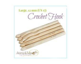 Single Large Crochet Needles, 12 mm Individual Crochet Hooks, US 17 Size, US O Crochet Hook, Huge Bamboo Crochet Hooks