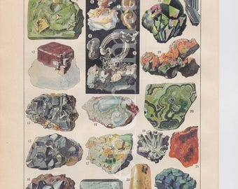 Pair of French vintage original color prints Minerals identification / Stones semi & precious framable or scrapbook A4 educational plate