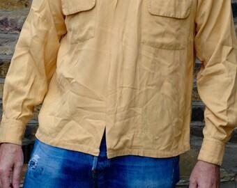 Rare zip front 1950's Mustard gab shirt, Medium, rockabilly, lindy hop