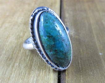 Vintage Chrysocolla Southwest Ring Size 6 Native American Sterling Silver 7.2 Grams Navajo