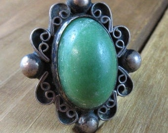 Vintage Green Onyx Ring Size 5 1/4 Sterling Silver Mexico 925 Beautiful Design