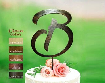 b cake topper, Wood initial cake topper, Cake Topper Initials, rustic monogram cake topper wood, wedding cake topper, wood letter b, CT#183