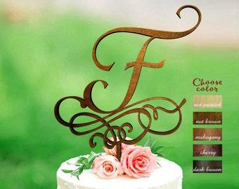 Letter f cake topper, wedding cake topper, rustic cake topper, personalized cake topper, letter cake topper, monogram cake topper, CT#308