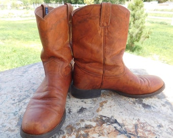GEORGE STRAIT Soft Leather Brown Boots Size 12 D / Justin Boots / Western Boots / Cowboy Boots / Very Good Condition