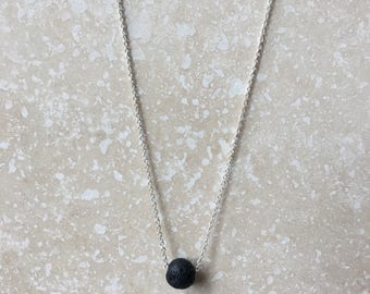 Lava + Sterling Silver/Gold Essential Oil Diffuser Necklace - Floating, Medium