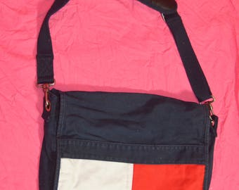 Vintage 90s Tommy Hilfiger Flag Logo Messenger Bag