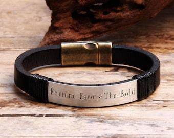Personalized Bracelet, Mens Leather Bracelet, Personalized Mens Gift, Special Gift, Anniversary Gifts, Proverb Bracelet, Friendship Bracelet