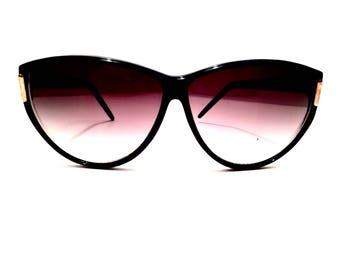 80s Vintage Cat Eye Sunglasses Cateye Glasses Cateye Sunglasses Catseye Shades Catseye Sunglasses Black Copper Blue 1980s 80's 1980's