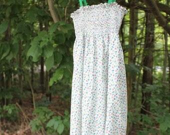 Liberty of London, cotton, Leaf print smocked dress.