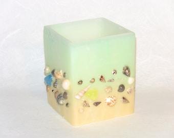 Handmade Beeswax Luminary, Seashell