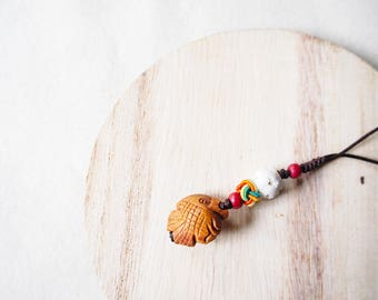 Carved Natural Apricot Pit Seed Yak Bone Woven Keychain, Yoga Boho Fish Keychain Traditional