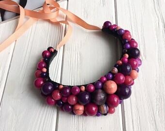 Purple necklace, statement necklace, violet jewelry, violet necklace, colorful necklace, evening necklace, lilac necklace, purple jewelry