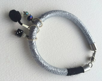 Unique handmade bracelet , boho, black and silver, bangle