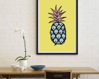Pineapple print, downloadable printable, digital art, colourful prints, wall décor, scandinavian print