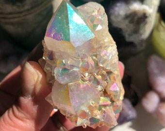 Angel Aura Crystal Cluster Spirit Aura Crystal Spirt Crystal Angel Aura Quartz Crystal Rainbow Angel Aura Spirit Quartz Crystal A14
