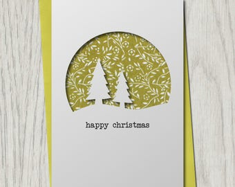 Christmas Card Handmade Cutout Papercut for Family Friends Wife Husband Pattern Trees Traditional Xmas Card Rudolph