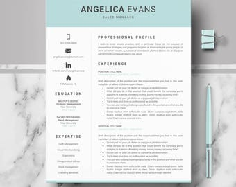 Modern Resume template; Professional Resume, CV for Word and Pages; 1, 2, & 3 Pages Resume Template + Cover Letter + tips; Instant Download