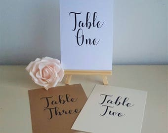 A6 Size Table Number Cards - Ivory Cream / Kraft / White