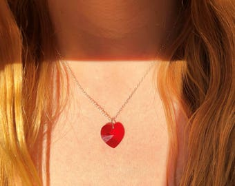 Red Swarovski Crystal Heart Pendant Necklace in gift box with Sterling Silver Chain. Great gift for her or Bridesmaids Gifts,Dainty Delicate