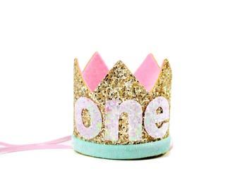Birthday Crown  | First Birthday Cake Smash Crown | First Birthday Glitter Crown | Birthday Girl Outfit | Gold Pink Mint