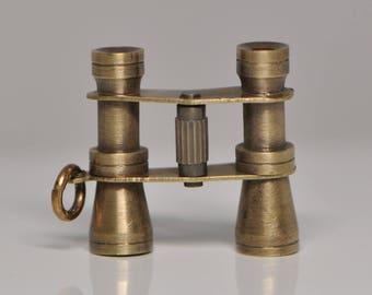 3D Binoculars Pendant Miniature Victorian Style Bird Watching Raw Brass Charm