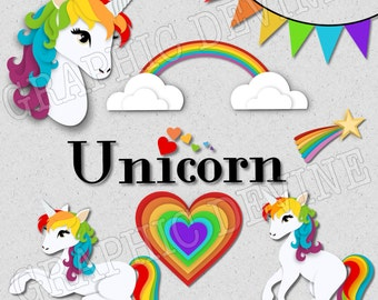 Pretty Rainbow Unicorn Clipart Images - by Graphic Devine