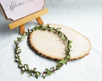 Simple Flower Crown, Bridal Flower Crown, Bridesmaid Flower Crown, Adult Flower Crown, Flower Girl Crown, White Flower Crown, Rustic Wedding