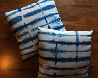 Hand-dyed Indigo Shibori Cotton Pillow Cover