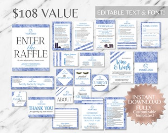 Blue Marble Hair Salon Marketing Kit|Marble Business Kit|Monat Business Cards|Monat Global Marketing|Monat Business Card Instant|Salon Cards