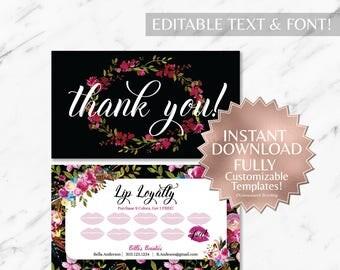 Black|Burgundy|Floral|Boho|LipSense Loyalty Card|LipSense Thank You|LipSense|SeneGence|Lip Loyalty|Marketing|Branding|Makeup Loyalty|INSTANT