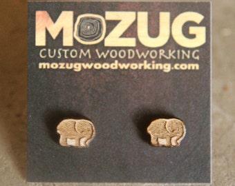 Elephant earrings - version2- lasercut - wooden - maple