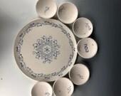 Custom Seder passover plate, Unique Judaic ceramic handpainted passover wedding gift