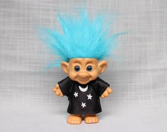 Blue Eyes and Hair Forest Troll, Wizard Troll Doll, Moon and Stars Cloth Troll, Vintage Troll Doll
