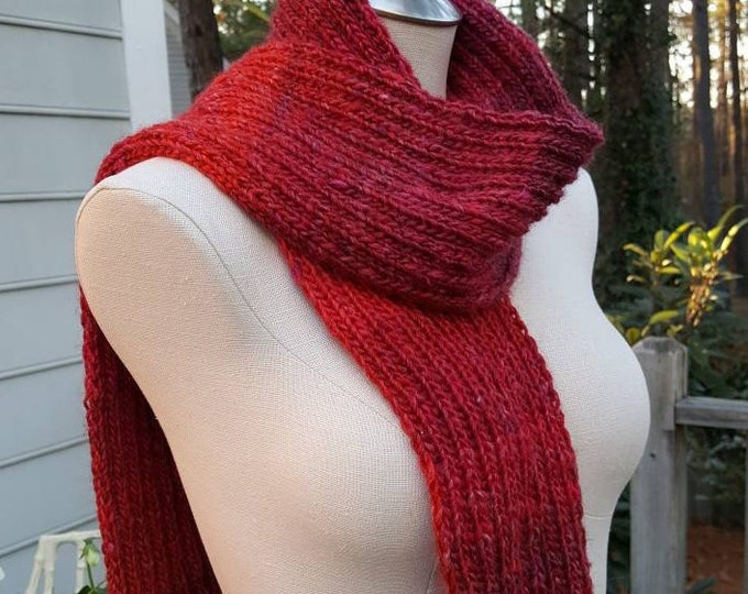 Handmade Knitted Warm Soft Red Variegated Wool Blend Scarf Rib