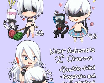 """NIER AUTOMATA Cute Summer 2"""" Double-sided Keychains / Charms"""
