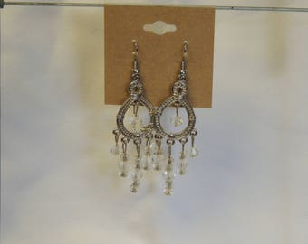 Clear Bead Chandelier Earrings