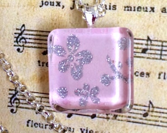 Necklace, Glass with Silver Chain, mixed Media Women's jewelry, Womens Pink Necklace, Pink and Silver Jewelry