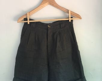 Gray Long Linen Shorts | Size S | Women's Vintage Clothing