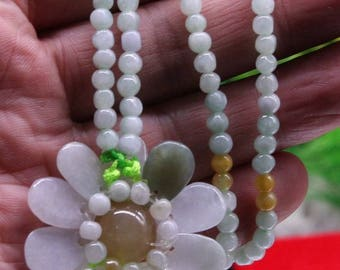 Gem Certified Floral Jadeite Magnificent Beaded Type A Delicacy with 4mm Jadeite Beads!