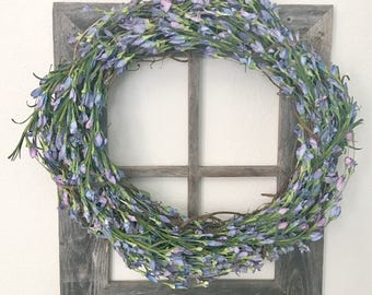 Purple Floral Wreath ~ Rustic ~ Spring Wreath ~ Farmhouse