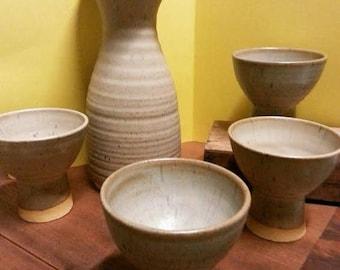 Retro Studio Pottery Carafe and Goblets