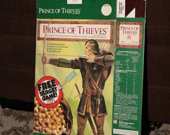 Prince of Thieves Cereal 1991 Ralston Purina Box Vintage 1990s Card Food Box Single Target Practice Robin Hood Game