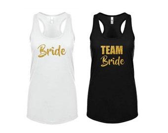 Team Bride Tank Top Bachelorette Party White Black Rose Gold Glitter Racerback Shirt Bridal Shower Wedding Shower Boho Beach Wedding Party