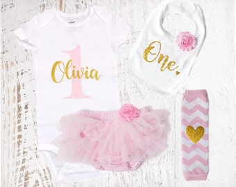 Personalized Name 1st Birthday Outfit Pink & Gold Girl One Tutu Bloomers Outfit Cake Smash Shirt Onesie Bodysuit Headband Bib