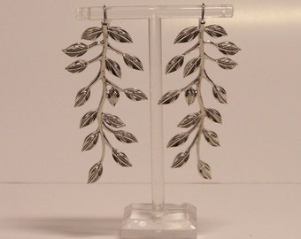 Long Silver Branch Earrings