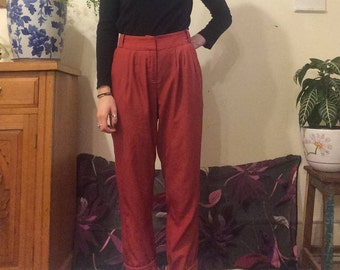 Retro Orange Studded high Waisted Pants