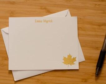 Maple Leaf gold foil stationery set of 10 with envelopes
