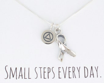 Alcoholics Anonymous AA Charm Necklace, Awareness Ribbon, Unity Recovery Service, Sterling Silver AA Charm, Sobriety Circle Triangle Symbol
